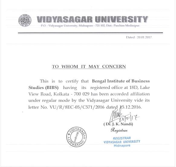BIBS affiliation by Vidyasagar University
