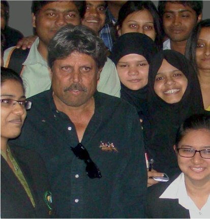 Kapil Dev sharing stage with MBA students at BIBS